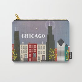 Chicago, Illinois - Skyline Illustration by Loose Petals Carry-All Pouch