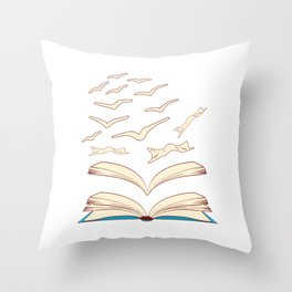 Bird Library Books Flying For Amazing People Reading Is Lit T-shirt Design Books Library Study Throw Pillow