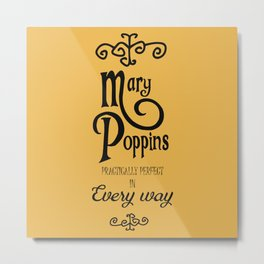 Mary Poppins poster, minimalist movie, Julie Andrews cult film, alternative affiche, Supercalifragi Metal Print