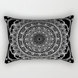 Black and White Geometric Mandala Rectangular Pillow