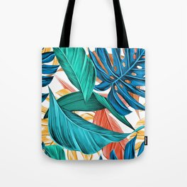 Colorful Tropical Jungle Leaves Tote Bag