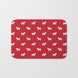 West Highland Terrier dog pattern minimal dog lover gifts red and white Bath Mat