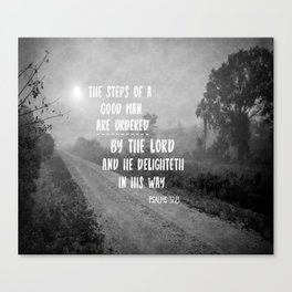 Steps of a Good Man Bible Verse Canvas Print