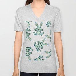 Blue rabbit with flora instead of coat Unisex V-Neck