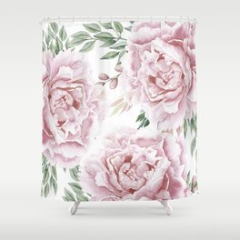 Girly Pastel Pink Roses Garden Shower Curtain