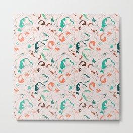 Sleepy Cat Pattern - Orange Metal Print
