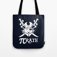 pi Tote Bags featuring Pi-Rate by Alby Letoy