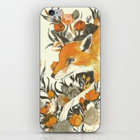 youtube iPhone & iPod Skins featuring fox in foliage by Teagan White