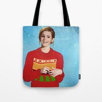 emma watson Tote Bags featuring xmas watson by the penguin