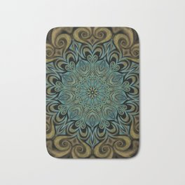 Teal and Gold Mandala Swirl Bath Mat