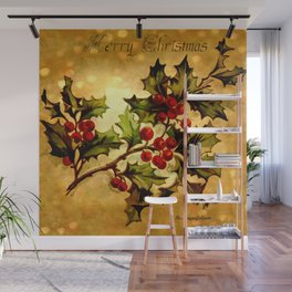 Christmas Holly, Vintage Botanical Illustration Collage Wall Mural