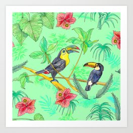 Watercolour Toucans Art Print