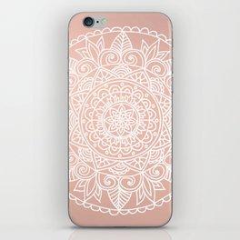 White Mandala on Rose Gold iPhone Skin