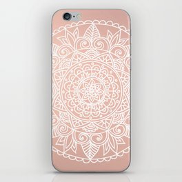 White Mandala on Rose Gold iPhone Skin
