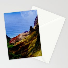 Hawaii Moon Over Coastal Cliffs Stationery Cards
