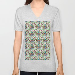 Bohemian modern pink blue green watercolor floral Unisex V-Neck