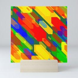 Colorful distorted hexagons Mini Art Print
