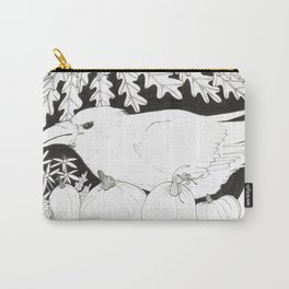 Crow with Pumpkins and Oak Carry-All Pouch