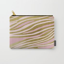 Gold Pink Dancing Lines Carry-All Pouch