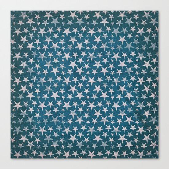 White stars on grunge textured blue background Canvas Print