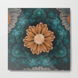 Beautiful Paradise Chrysanthemum of Orange & Aqua Metal Print