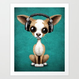 Cute Chihuahua Puppy Dog Wearing Headphones on Blue Art Print
