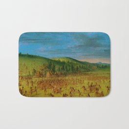 Classical Masterpiece 'Ball play of the Choctaw' by George Catlin Bath Mat