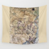 hogwarts Wall Tapestries featuring Hogwarts Map by Sarah Ridings