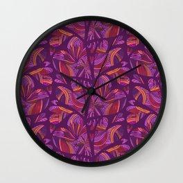 Flowing Love Purple Heart with interlocking Stripes Wall Clock