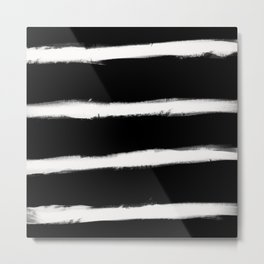 Form Brush Stripe Horizontal White on Black Metal Print