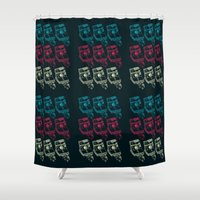 polaroid Shower Curtains featuring Polaroid  Texture by nerodesign