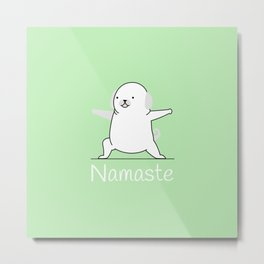 Namaste Yoga Dog Pastel Green Metal Print