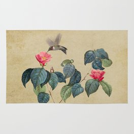 Hummingbird and Japanese Camillea Rug