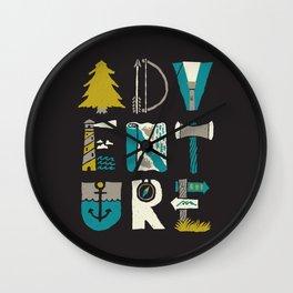 Adventure Typo Wall Clock