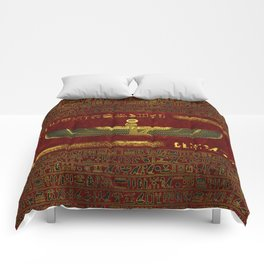 Golden Egyptian God Ornament on red leather Comforters