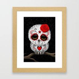 Adorable Red Day of the Dead Sugar Skull Owl Framed Art Print