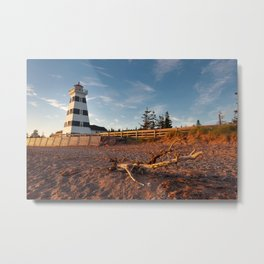 West Point lighthouse at sunset Metal Print