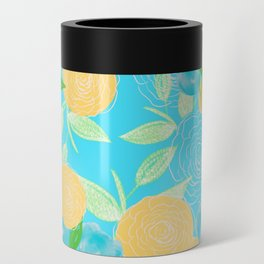 06 Yellow Blooms on Blue Can Cooler