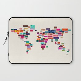 All We Need Is Love World Map Art Laptop Sleeve