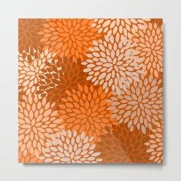 Floral Pattern, Terracotta, Rust Metal Print
