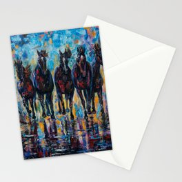 Free Roaming Wild Horses  Painting with a Palette Knife by OLena Art  Stationery Cards