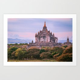 Buddhist Temple Rises Above the Fields of Bagan Fine Art Print Art Print