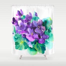 Violet Flowers  Sainpaulia African Violets violet purple yellow floral decor Shower Curtain