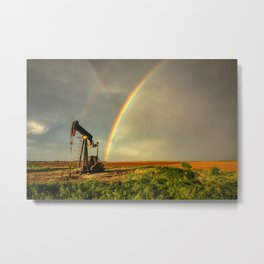 Black Gold - Rainbow Ends at Pump Jack in Texas Oilfield Metal Print