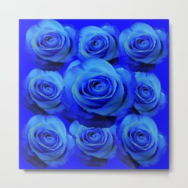 AWESOME BLUE ROSE GARDEN  PATTERN ART DESIGN Metal Print