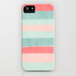 Stripes painted coral minimal mint teal bright southern charleston decor colors iPhone Case