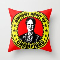 dwight schrute Throw Pillows featuring Dwight Schrute (Dwight Army Of Champions) by Silvio Ledbetter