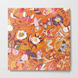 Garden pollinators   orange Metal Print
