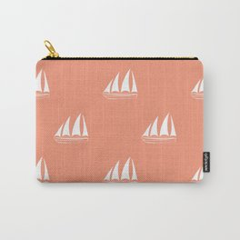 White Sailboat Pattern on coral background Carry-All Pouch