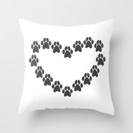 Paw Prints Heart Throw Pillow